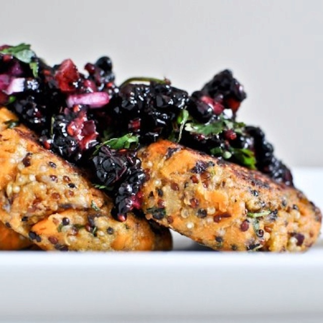 SWEET POTATO-QUINOA CAKES & BERRY SALSA